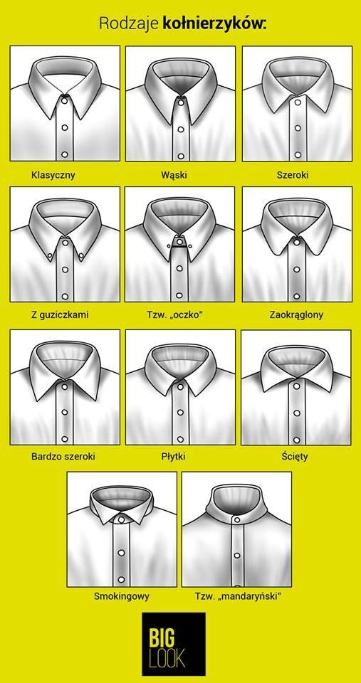 Oto najpopularniejsze rodzaje kołnierzyków w koszulach - DUŻYM Panom polecamy takie z wydłużonymi wyłogami kołnierzyka oraz klasyczne kołnierzyki z guziczkami.