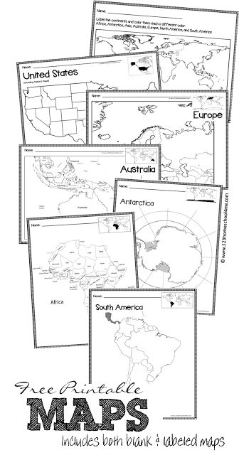 Help kids learn the different countries of the world with these printable World Maps of 9 different continents and countries. :: www.thriftyhomeschoolers.com