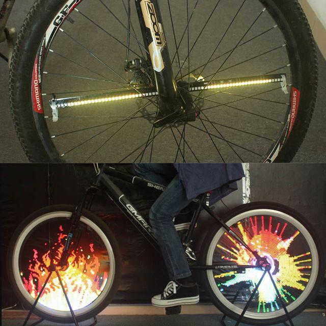 128 Led Luz de la Bici de La Bicicleta Accesorios Patrones Cambiantes de Rueda de la Bici Habló La Luz Impermeable Conducción Nocturna luces led bicicletaBHU2