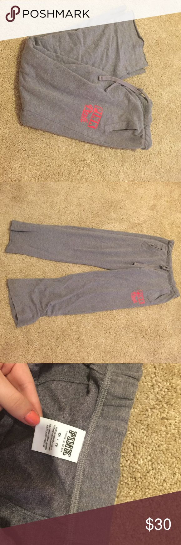 Gray VS PINK boyfriend sweatpants light gray sweatpants. Very comfortable. I only wore them to bed a few times. Great condition PINK Victoria's Secret Pants