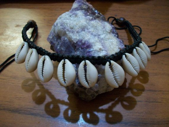 Shell Necklace Macrame Shell Choker Cowrie Shell by Dare2beUNIQUE
