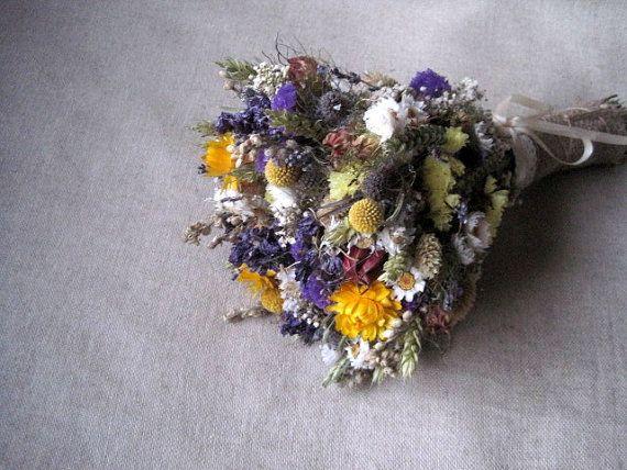 Garden wedding country bouquet shabby chic yellow and blue wedding bouquet ,rustic wedding ,dried  flowers farm wedding bouquet
