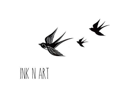 Free birds swallows InknArt Tattoo idea.
