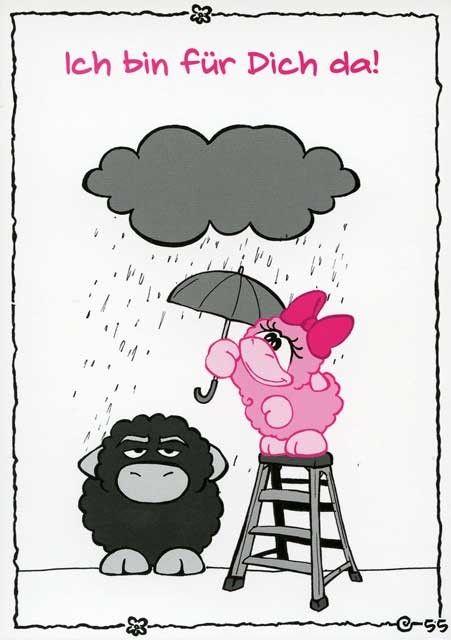 Olaf das Grummelschaf und Poppy Postkarte mit lustigen Sprüchen - Ich bin für Dich da! Postkarten Freundschaft