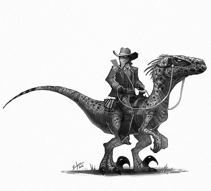 Well, I guess a third Dino cowboy institutes a series now. These are really fun, expect more! #oldwest #cowboy #dinosaur #velociraptor #raptor #conceptart #art #instaart #drawing #draw #bandit #illustration #characterdesign #instagood #digitalart