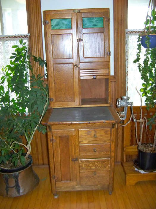 Furniture Inspiration: Oak Apartment Size Sellars hoosier cabinet with agatized glass and zinc counter top.  Circa 1910.: Oak Apartment, 1910 S Furniture, Apartment Size, Furniture Inspiration, Hoosier Cabinets, Agatized Glass, Sellars Hoosier, Cabinet Apartment, Size Sellars