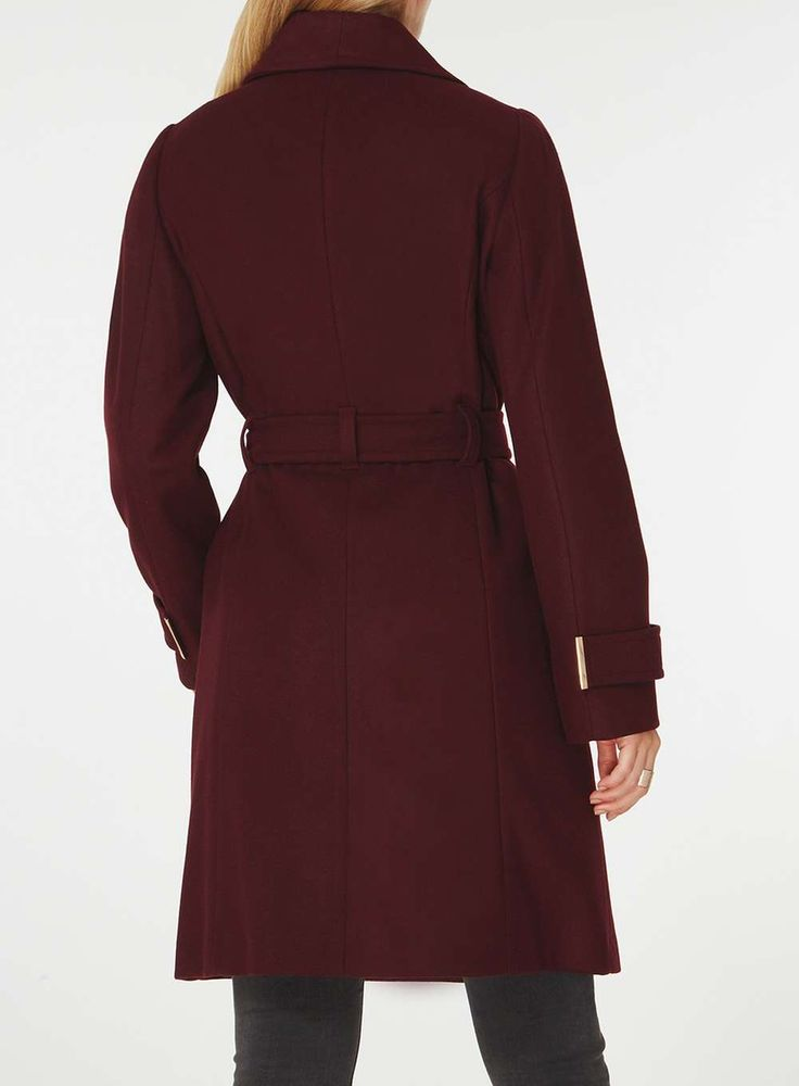Womens Plum Tie Belt Coat- Purple