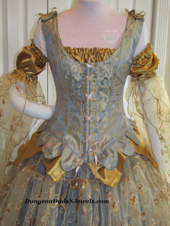 DDNJ Choose Fabrics 4pc Gilded Fairy Queen Reversible Corset  w/Tabs Renaissance Fantasy Larp Anime Wedding Plus Custom Made Any Size