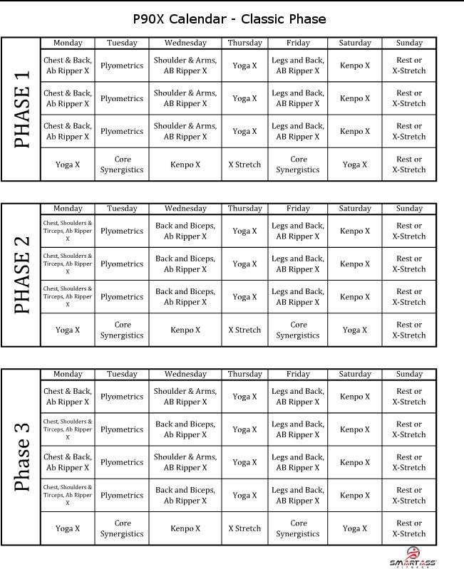 P90x workout schedule lean or classic