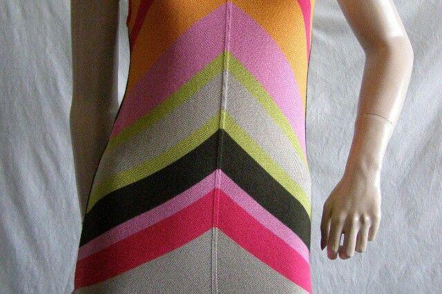 Simon Barbieri Cotton Knit Rainbow Chevron Front Long Cross Back Camisole Italy