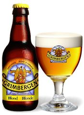 Grimbergen blond, beautifully golden and sweet beer.