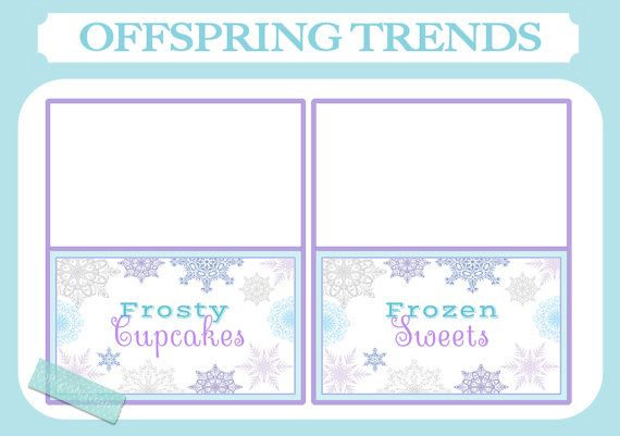FROZEN Printable Birthday Food Tent Labels Custom Food/Name Cards Party Table Winter Birthday Theme printable digital package available