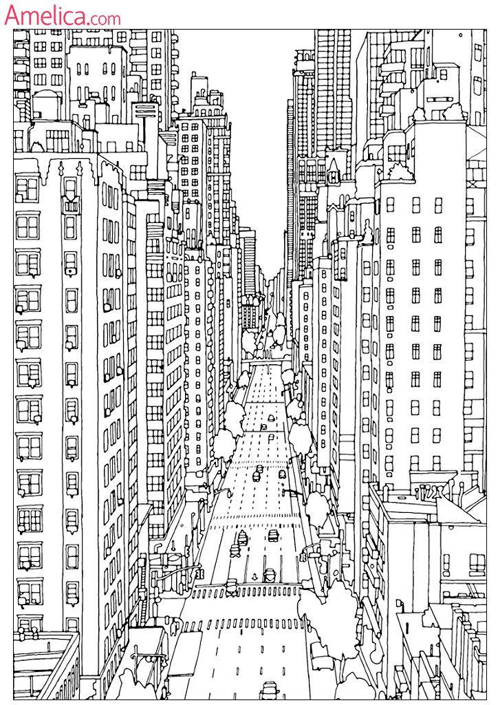 Сложные раскраски для взрослых антистресс скачать, картинки для раскрашивания здания, архитектура, сказочный город, орнаменты распечатать