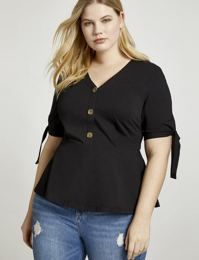 35240f99e92e7 View our Tie Sleeve Button Down Blouse and shop our selection of designer  women s plus size