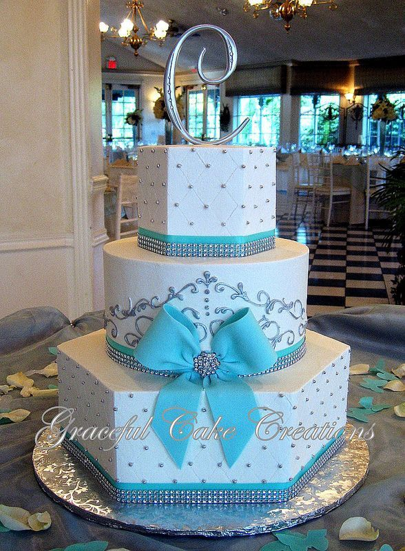 Elegant White and Tiffany Blue Wedding Cake with Bling