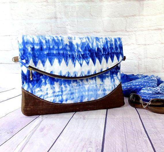 Blue Shibori Foldover Clutch, Large Foldover bag, Heidi Clutch Purse, Indigo blue clutch bag, personalized clutch with zipper pocket