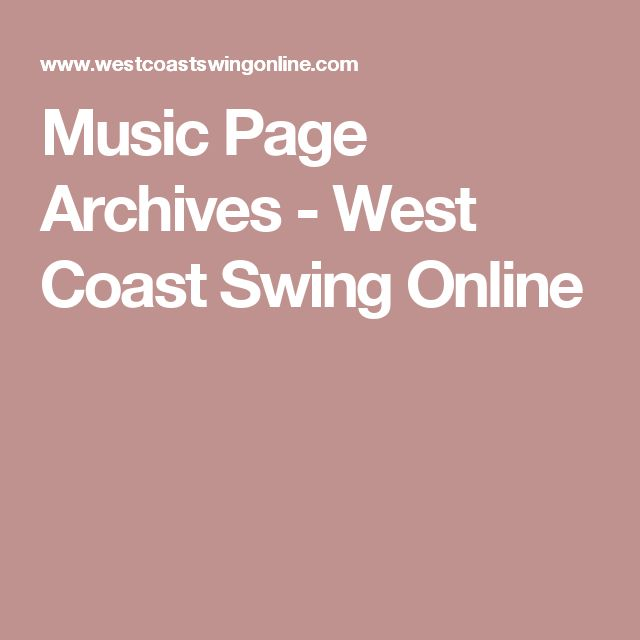 Music Page Archives - West Coast Swing Online