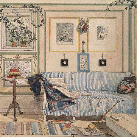 Carl Larsson, Swedish artist, late 1800's. Muted colors and painted trim details. Beautiful little rug. Great cottage style for today!