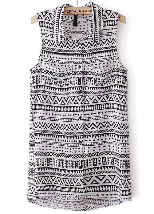 Black White Sleeveless Geometric Print Asymmetrical Blouse US$23.77