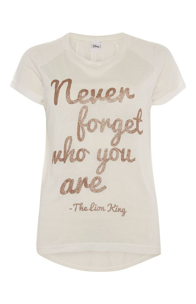 DISNEY LION KING QUOTE Ladies Primark T Shirt NEVER FORGET WHO YOU ARE Tee Top #Primark #Graphic