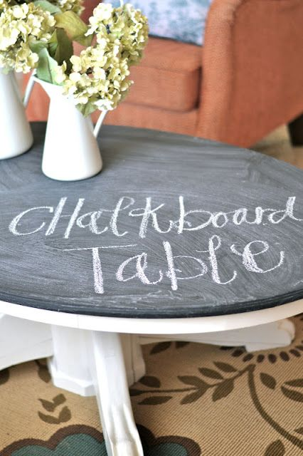 DIY: Chalkboard Coffee Table. | Paddington Way.- I wonder if this would work for an outdoor game table.  Thinking Tic-Tac-Toe