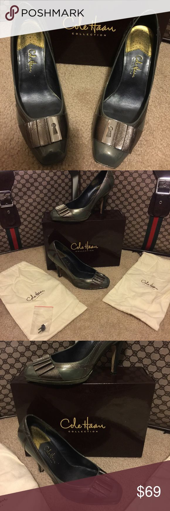 "Cole Haan ""Nike Air"" Edition Size 9.5 B 5"" heel Jayma Air Pump - see gold tag on bottom. Color Gunmetal Paten D20775. Come with box 📦 2 dust covers and 2 heel replacement plugs Cole Haan Shoes Heels"