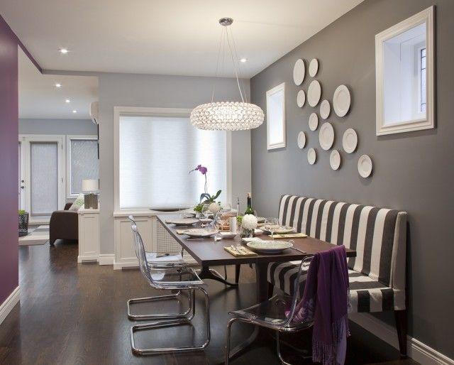 polsterbank streifen acryl stühle wanddeko teller