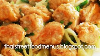 Thai fried food menu as Thai Two Color shrimp balls fried menu (Pad-look-chin-song-see). #thaifoodmenu #thairecipes #thaistreefoodmenu  please visit this website for more thai food menu and traditional thai food menu. http://thaistreetfoodmenus.blogspot.com. Thank you.