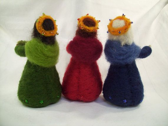 OOAK Three Kings needle felted wise men epiphany por careybrett