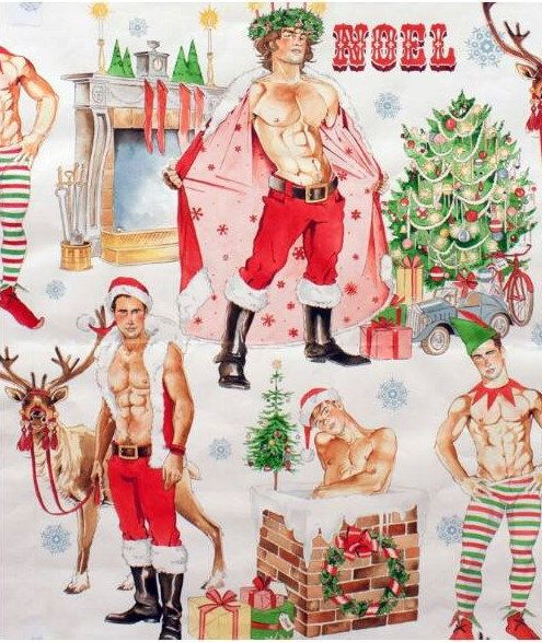 Hurry Down The Chimney Sexy Santa Pinup Men By