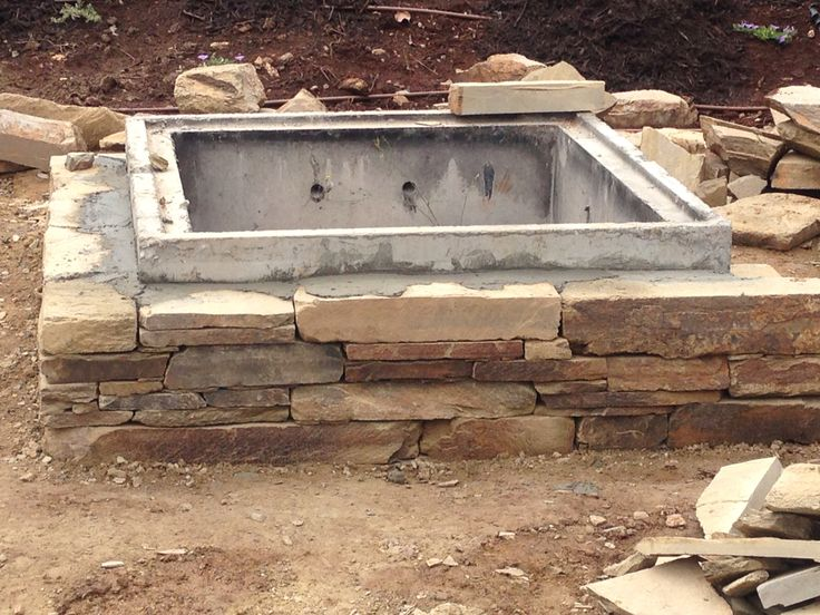 Under construction Castlemaine dry stacked fire pit Red hill