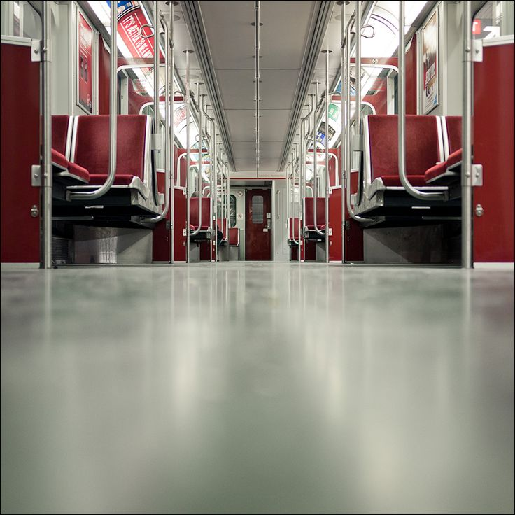 A late night in a Toronto subway car.