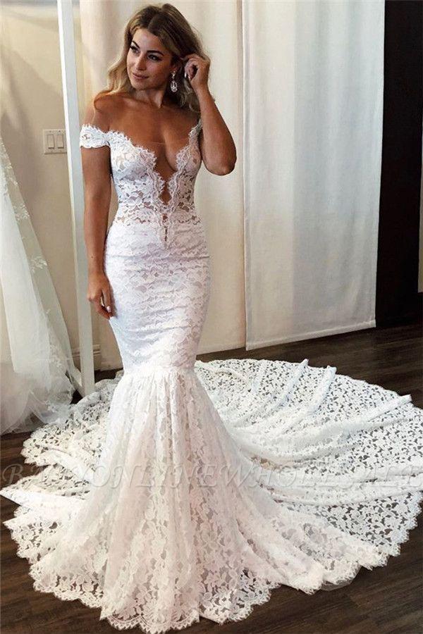 Sexy Spitze Off-the-Shoulder Brautkleider | Meerjungfrau ärmellose Blumen Braut Go …