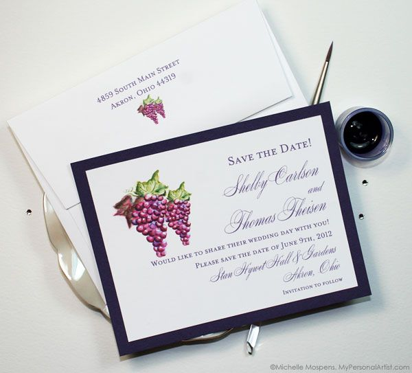 Hand painted grapes, vineyard wedding save the dates. \ MospensStudio.com
