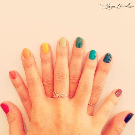 Lauren Conrad's rainbow manicure.