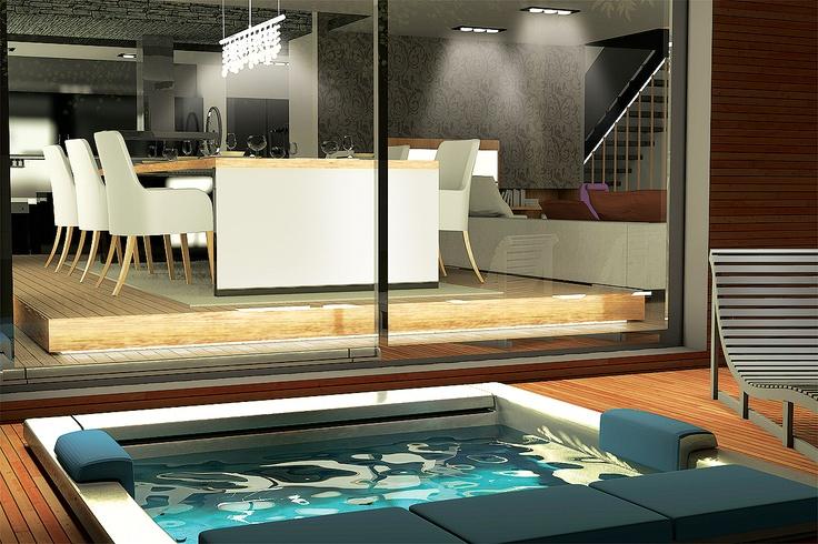 folkart narlıdere kurumsal iç mekan tasarımı. daire balkonunda bulunan jakuzinize girerken izmir manzarasını izleyebilirsiniz