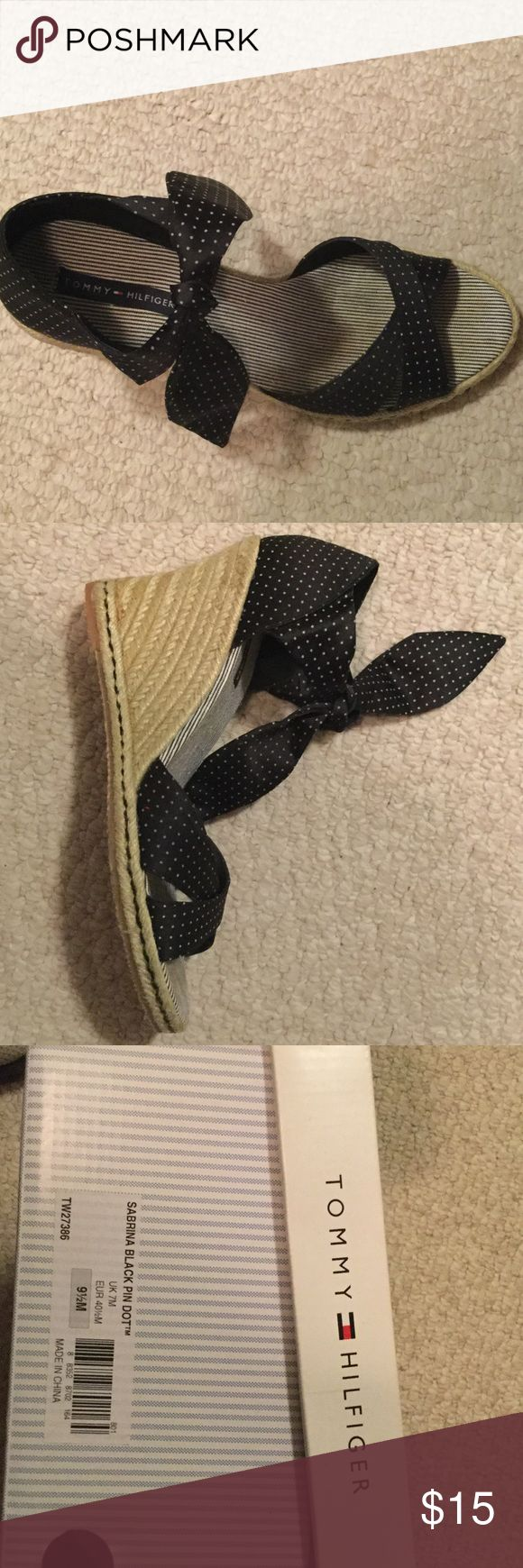 Black and white Espadrilles Black and white pin dot satin espadrilles ..worn 3x Tommy Hilfiger Shoes Espadrilles
