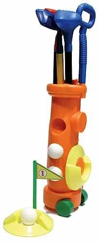 Kid's Klubs- Junior Golf Club Starter Set  This is a wonderful little starter golf club set for young children. A rolling bag with wheels, putter, iron, and driver, 3 balls, two cups with flags. A great gift for your little golfer.