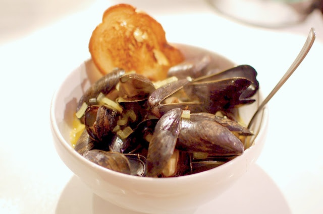 Steamed Mussels in a White Wine Saffron Broth