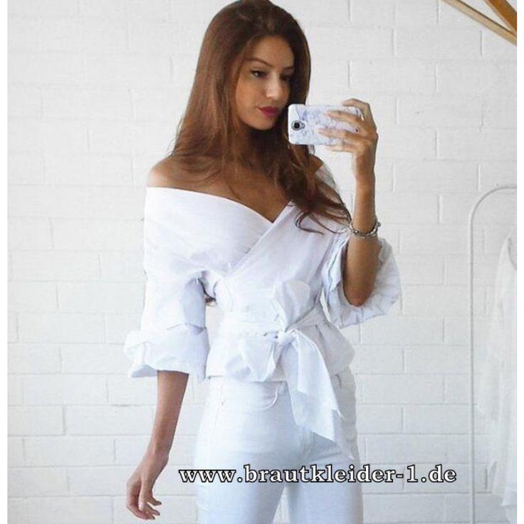 Sexy Wickelbluse für die Braut in Weiß
