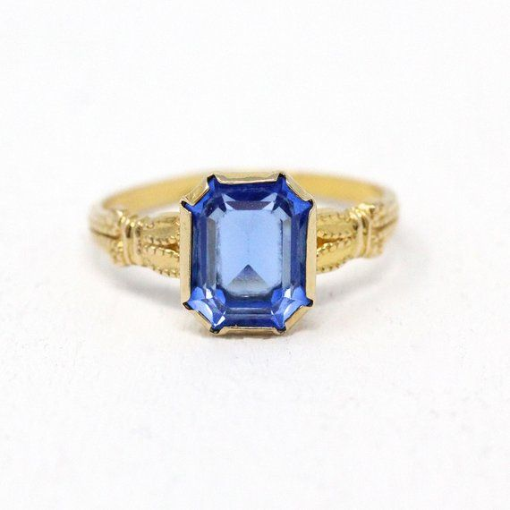 Sale Blue Glass Ring Vintage 10k Gold Flower Shoulders Rectangular Faceted Stone Retro 1940s Era Size 3 3 4 Fine Gift For Her Jewelry Glass Rings Retro Jewelry Retro Ring