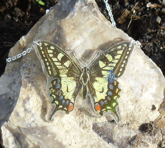 Unique Yellow Butterfly Necklace