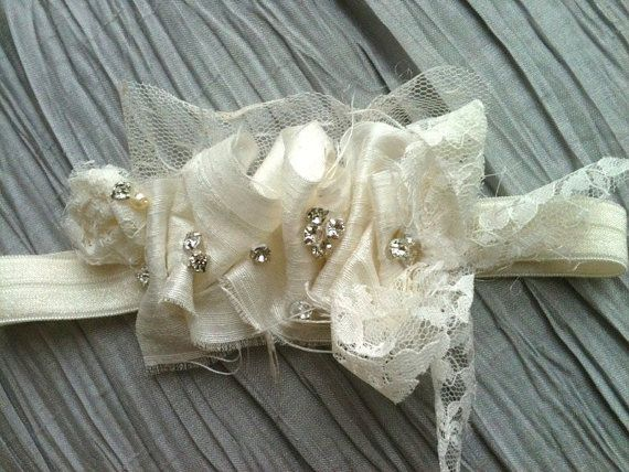 Ivory Silk Blessing Christening Headband by CozetteCouture on Etsy, $25.00