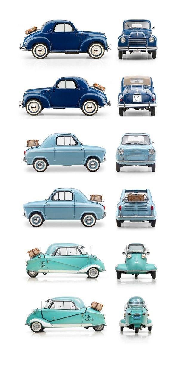 Micromobiles: 1949 Fiat 500C Topolino, 1959 Vespa 400, 1959 Messerschmitt KR200