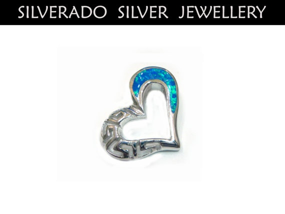 Greek Eternity Key Heart Shape Manmade Opal by SilveradoJewellery, €27.00