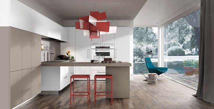 Red Stools Furniture Design Decorated Among White Also And Brown Kitchen Cabinet Ideas Design Used Modern Chandelier Lighting Decor