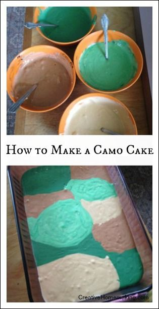 Easy do-it-yourself instructions for making a camo birthday cake.