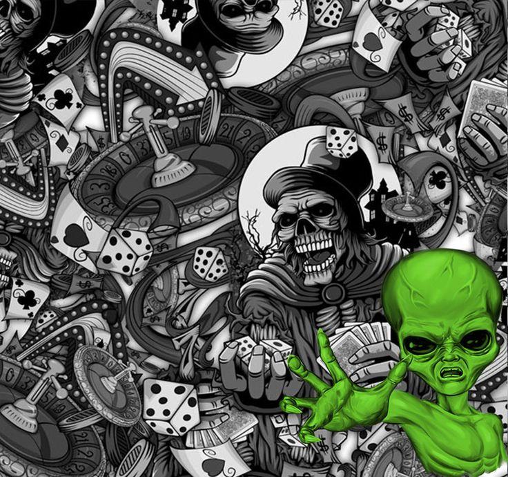 Hydrographics Film The Gambler Skulls 16.25 sqft Water Transfer Printing Casino #VortexDipKitVortexdipkit