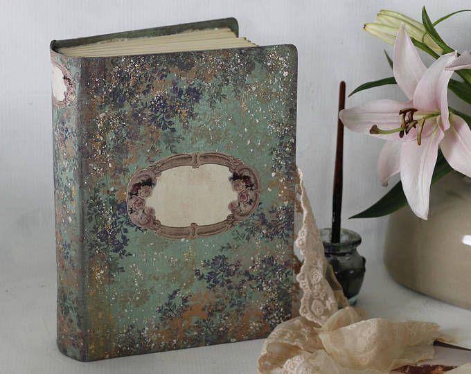 Whimsical bosque boda libro de visitas | Bígaro y salvia | Scrapbook flores bebé, álbum de fotos tradicional, revista pintado mano | 8.5x6''