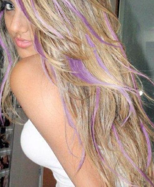 Blonde and light purple hair